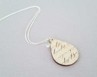 Wood necklace, unique necklace, decoupage necklace, statement necklace, sterling silver necklace, decoupage jewellery, calligraphy
