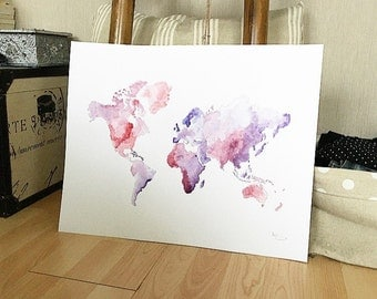 Violet watercolor world map table