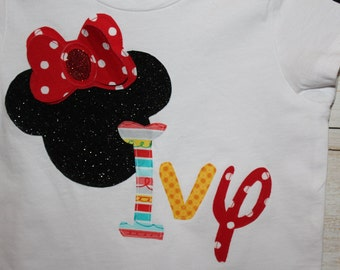 Sparkle Minnie-inspired shirt with optional personalization