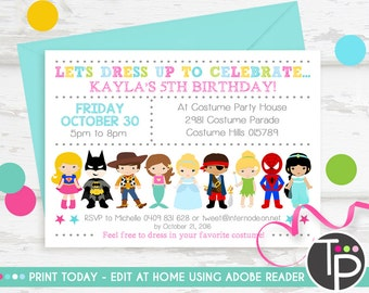 COSTUME PARTY INVITATION, Instant Download, Dress up Party Invitation, Costume Party, Printable invitation, Editable text, Costume Invite
