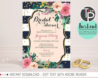 BRIDAL SHOWER Invitation, Instant Download, Watercolor Floral Bridal Shower Invitation, Bridal Shower Invitations, Bridal Shower, 0205