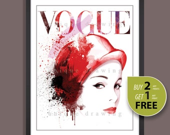 Fashion Illustration, fashion poster, fashion print, Vogue print, Vogue poster, Vogue cover, fashion wall art, Vogue vintage magazine, 3269