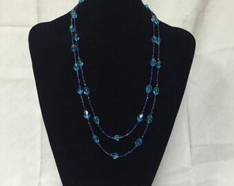 Aqua & Royal Blue Beaded Necklace