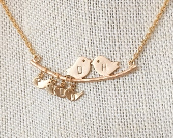 Love Birds Personalized Necklace -Mothers Necklace - Grandmothers Necklace - Personalized Mothers Jewelry -Gold Personalized Family Necklace