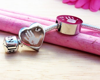 Personalised Handprint or Footprint Engraved Charm Bead Choose Circle or Heart Charm