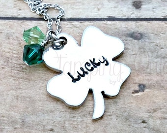 Lucky Necklace* Lucky Jewelry* Four Leaf Clover* Clover Necklace* Lucky Clover* Lucky Charm* St Patricks Day* Lucky Girl* Shamrock* Luck*