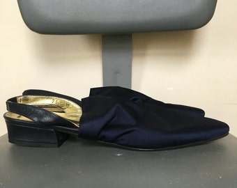 Shimmery Navy Blue Vintage Slingback Heels w/ Stretch Fabric from the Larry Stuart Collection - Size 7 1/2