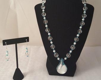 Blue Glass Pendant Necklace - Pendant Necklace - Jewelry Set - Blue Jewelry Set - Clear Glass Jewelry Set - Glass Pendant Jewelry Set - Blue
