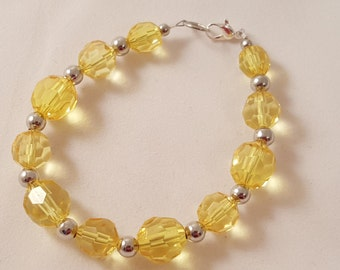 Yellow Acrylic Bead & Silver Plated Bead Bracelet - Yellow Bracelet - Yellow Jewelry - Bracelet - Women's Bracelet - Yellow Beaded Bracelet