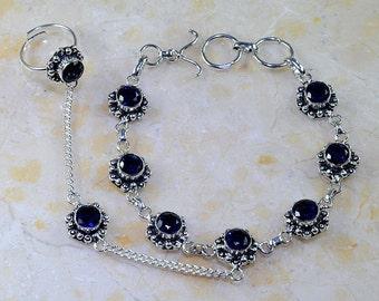 Dark Blue Iolite Sterling Silver Adjustable Ring and Bracelet also known as a Slave Bracelet