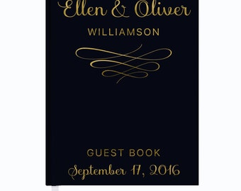 Black and Gold Foil Wedding Guest Book, Elegant Guest Book, Personalized Wedding Guest Book, Wedding Book