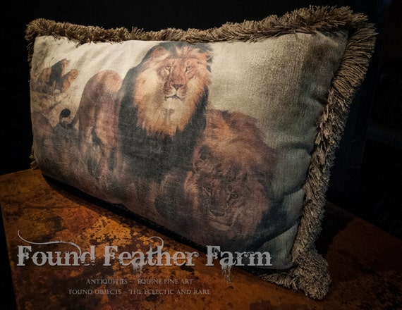Vintage Pulvermacher Antiqued Velvet Pillow with Lion Images and Heavy Brushed Fringe