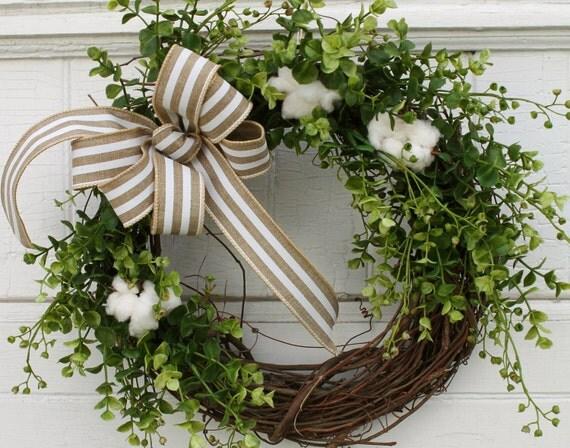 Cotton Wreath, Boxwood Wreath,  Natural Cotton Bolls, Farmhouse Decor, Rustic Wedding, Cotton Stems, 2nd Anniversary, Rustic Wreath, Wreaths