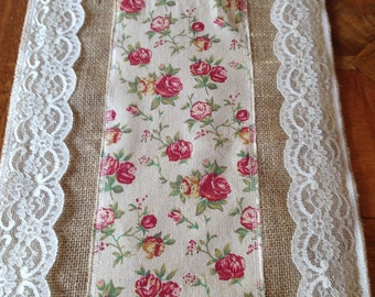 "Hessian, Lace and Floral 9' x14"" Table Runner"