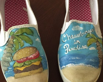 Hand Painted Cheeseburger in Paradise slip-on shoes