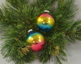 Vintage Set Of 2 Ombre Shiny Bright Glass Globe Christmas Ornaments