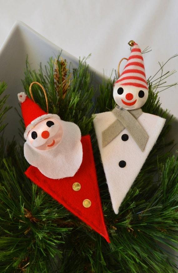 Vintage mid century modern felt christmas ornament set of