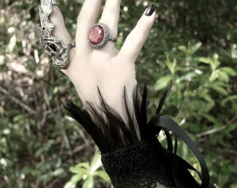 Raven Queen Wrist Cuffs / Pair of Jet Black Feathered Gauntlets Bracelets Venise Lace Satin Ribbon Adjustable / Goth Gothic Fantasy Horror
