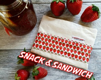 Strawberry Print -- Snack / Sandwich Reusable Bag Set -- Natural Canvas -- Made to Order