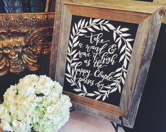 Wreath Chalkboard Wedding Send Off Wand Sign