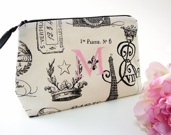 Monogrammed Makeup Bag // Personalized Cosmetic Bag // Paris Cosmetic Bag // French Makeup Bag // Personalized Gift for Her