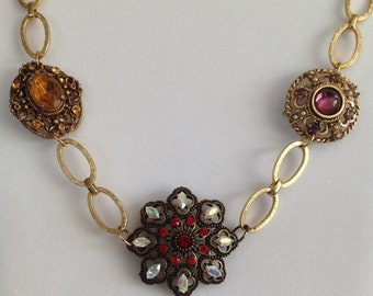 Vintage Brooch Necklace
