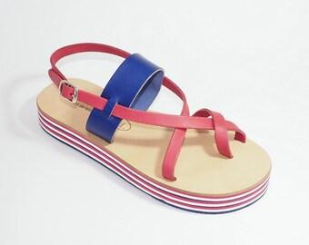 Greek Leather Sandals (36 - Bicolor)