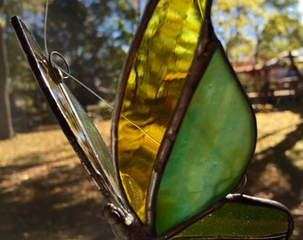 Yellow glass butterfly, stained glass butterfly, sun catcher, 3D glass butterfly