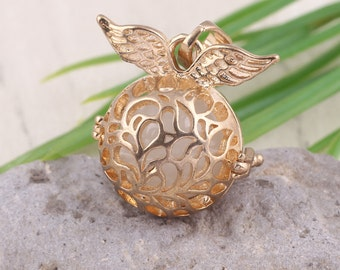 New Babe Wings Bola Pendant Locket Angel Caller Glowing Jewelry For Mothers-to-be Prenatal Education Baby Chime Pendant Gift For Her