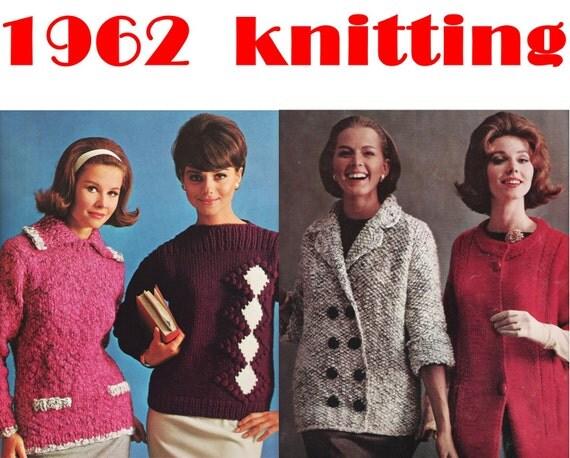 1960s Knitting Patterns BIG NEEDLE FASHIONS by Bernat Book 110 ...