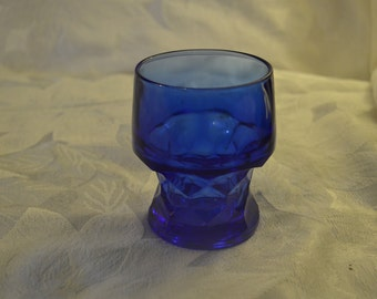 Cobalt Royal Blue Vintage Heavy Georgian Style Water Glass Tumbler 1960's