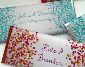 Confetti party, personalized wedding favors, anniversary favors, confetti paper, bridal shower favor, personalized candy bar wrappers,