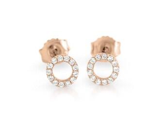 Cz eternity stud earrings. Sterling silver eternity earrings. Gold cz eternity stud earrings. Rose gold eternity stud earrings.
