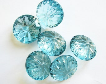 """Big blue crystal butons, 6 Large plastic buttons in turquoise blue, transparent shank buttons, 28 mm - 1 1/8"""""""