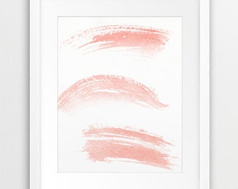 Abstract Art Printable, Watercolor Brush Stroke, Brush Painting Pink Coral, Minimalist Art, Modern Wall Art, Nursery Home Decor Downloadable