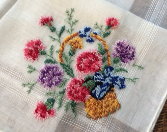 Vintage Ladies Handkerchief~White Embroidered PETIT POINT Needlework~Basket of Carnations w/Blue Bow~NOS/Unused w/Labels~H. Done~Switzerland