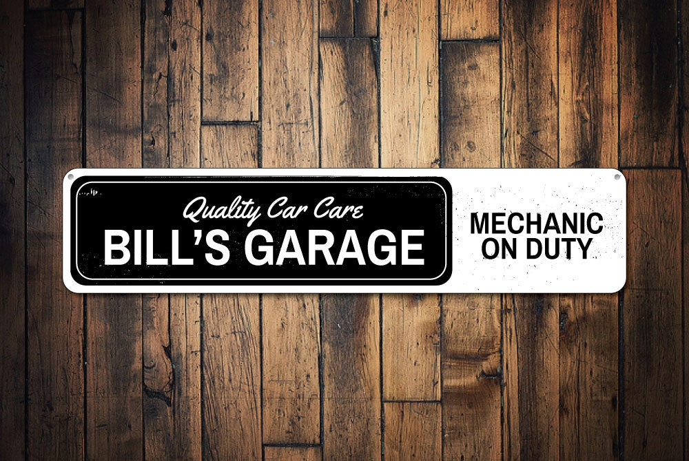 Custom Car Garage Signs : Mechanic on duty sign custom garage quality car care