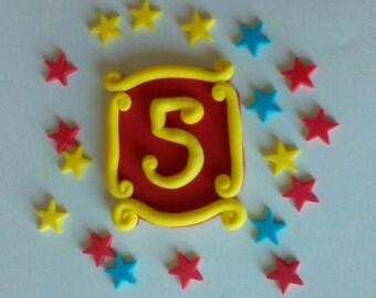 Circus Carnival Edible Age Fondant Cake Topper- Circus, Carnival Birthday Cake Decor