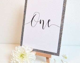 Glitter Table Numbers With Mini Easels