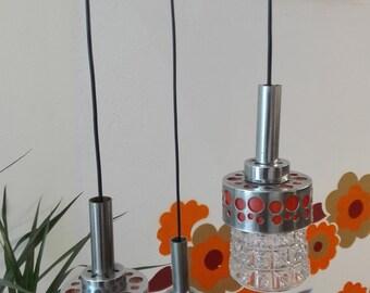 Seventies lamp, Glass and Orange plastics, chrome