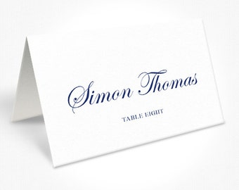 Navy Blue and White Wedding Place Cards, Traditional Script Font, Free Colour Changes, DEPOSIT | Peach Perfect Australia