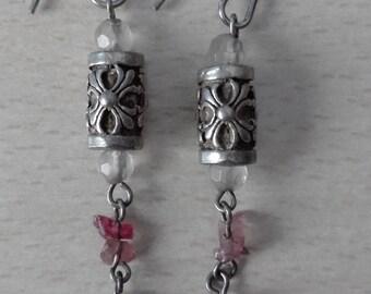 Silver beaded earrings - Free international Shipping