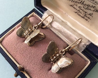 1930 ART DECO CREATOR Earrings - Batterfly 3D carved sterling silver - Hand made-very Original!