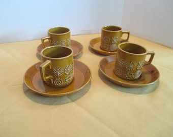 1960 's Portmeirion  Totem Amber Set Of 4  Demitasse Cups And Saucers  By Susan  Williams - Ellis  England