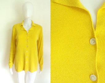 90s cardigan sweater size medium, knit sweater top, yellow, button down cardigan, womens jumper, 1990s, rayon cotton top
