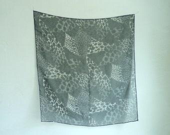 animal scarf, black white, cheetah scarf, sheer scarf, animal print ascot, square scarf, 80s scarf 1980s jungle safari
