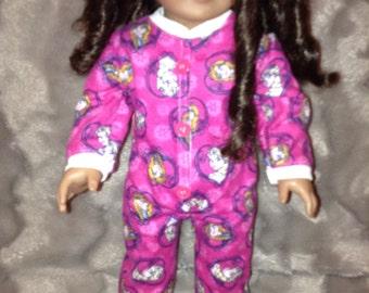 onesie pyjamas for american girl doll, maplelea girl, our generation, journey girl any 18 inch doll