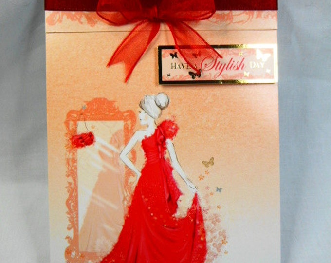 Birthday Card, Greeting Card, Elegant Lady in a Red Dress, Female Any Age, Daughter, Sister, Niece, Mum, Aunt