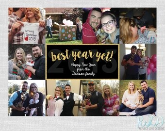 Best Year Yet Happy New Year Gold Card With 10 Photos Digital Printable File