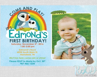 Puffin Rock Birthday Party Invitation with Photo